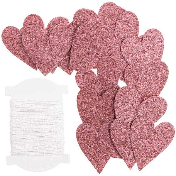 Paper Poetry Papieranhänger Herzen S Glitter rosa 24 Stück