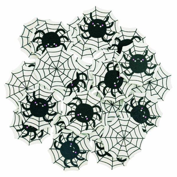 Ohhh! Lovely! Holzstreu Spinnennetz schwarz-weiß 48 Stück