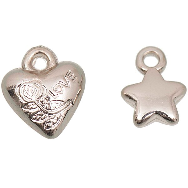 Jewellery Made by Me Perle Sterne und Herzen roségold 11x10mm 15 Stück