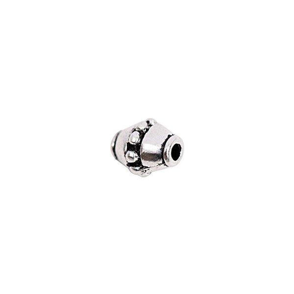 Rico Design Perle Ornament silber 10x8mm 5 Stück