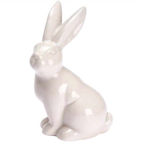 Hase sitzend Porzellan weiß 18,5cm
