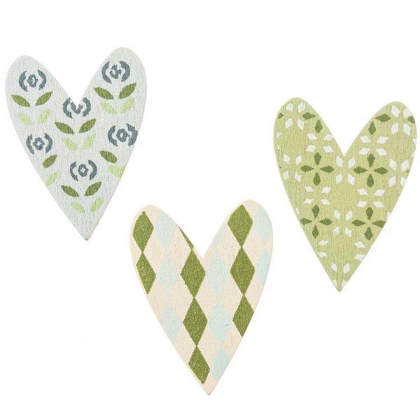 Streu Herzen pastellgrün 4,5cm Holz 12 Stück