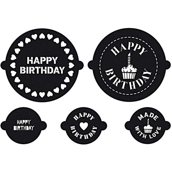Rico Design Kuchen- und Cupcake Schablonen Birthday