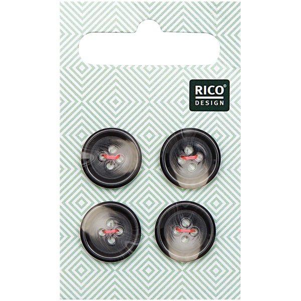 Rico Design Knopf grau 1,5cm strukturiert