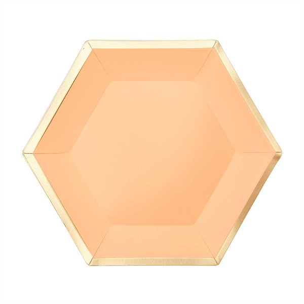 YEY! Let's Party Pappteller Sechseck apricot-gold 16x13,5cm 10 Stück