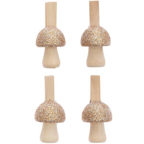 Ohhh! Lovely! Dekoklammern Pilz mit Glitter gold 4,8cm 4 Stück