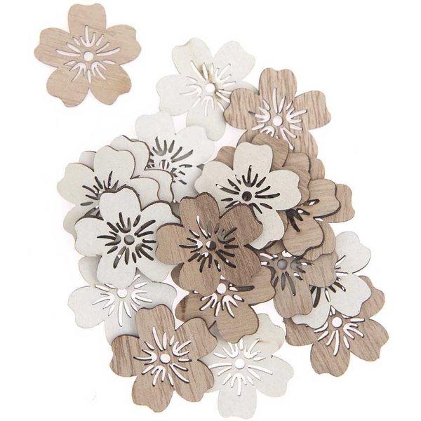 Holzstreu Blumen natur-weiß 2,7cm 20 Stück