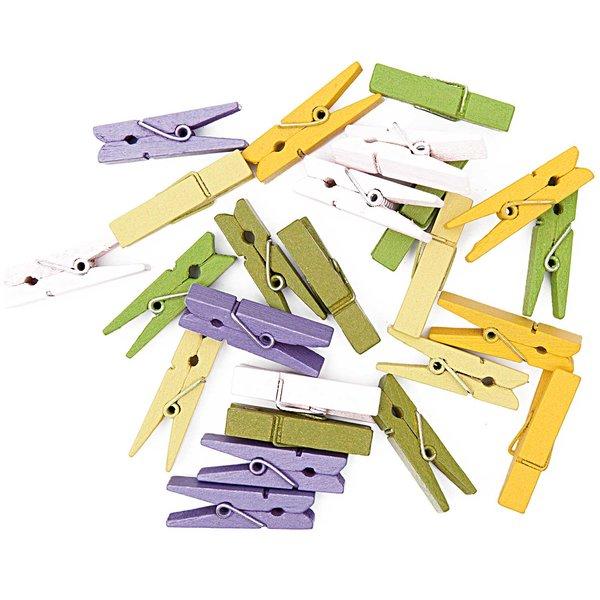 Rico Design Klammern lila-grün-gelb 3,5cm 24 Stück Holz