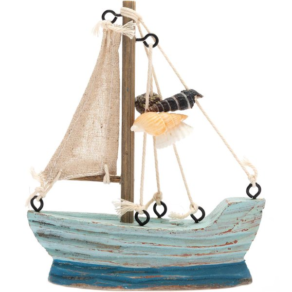 Segelboot mit Muscheln blau 12,5x10cm