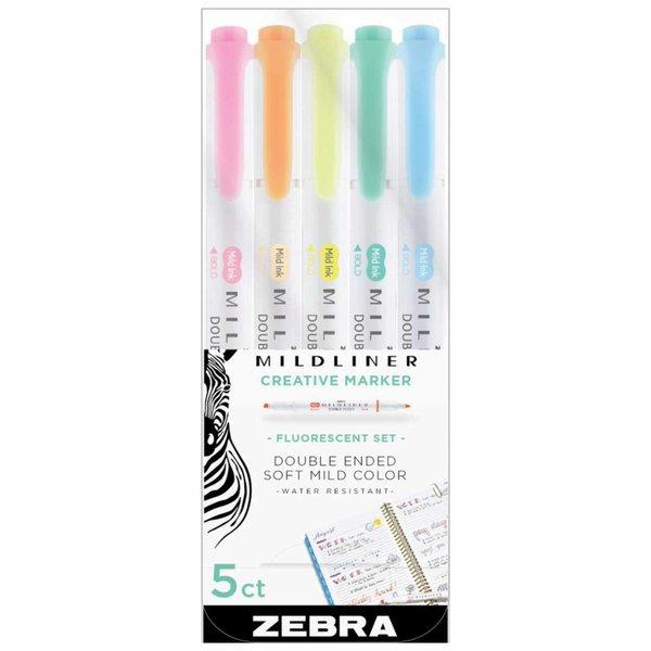 Zebra Mildliner Textmarker mit 2 Spitzen 5 Stück
