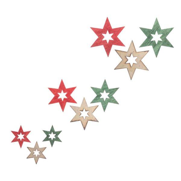 Holzstreu Stern offen grün-rot-weiß