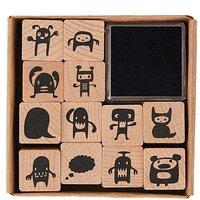 Paper Poetry Stempelset Monster 2x2cm 12 Stück