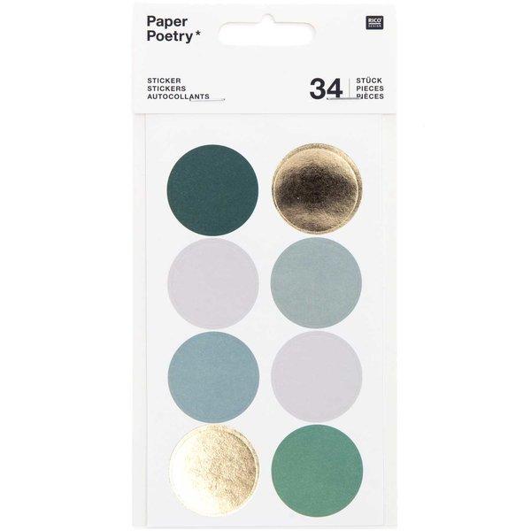 Paper Poetry Sticker Punkte & Streifen dunkelgrün 4 Blatt