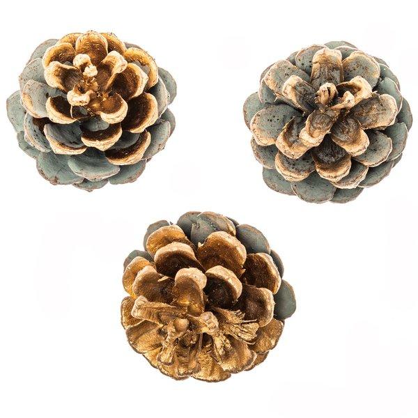 Kiefernzapfen gold-grau-grün 6 Stück
