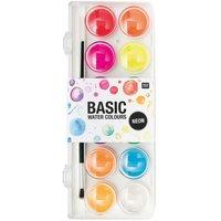 Rico Design Basic Neon Water Colours Wasserfarbkasten 12 Farben
