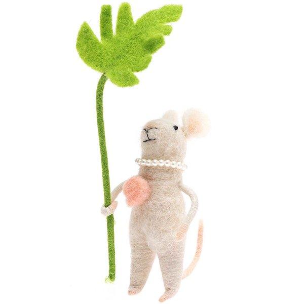 Filz-Maus mit Palmenblatt 14cm