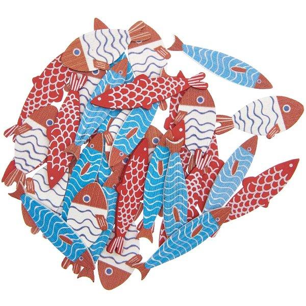 Ohhh! Lovely! Holzstreu Fisch rot-blau 36 Stück