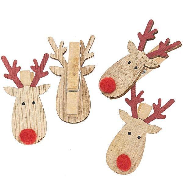 Rentier Rudolph am Clip natur-rot 6x3cm 4 Stück Holz