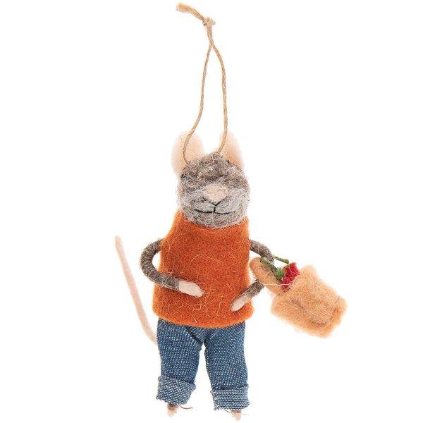 Filz-Maus mit Einkaufskorb mehrfarbig 12cm
