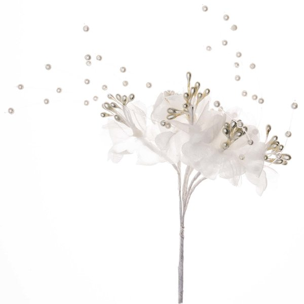 Blüte mit Perlen und Perlenschweif Organza creme 6 Stück
