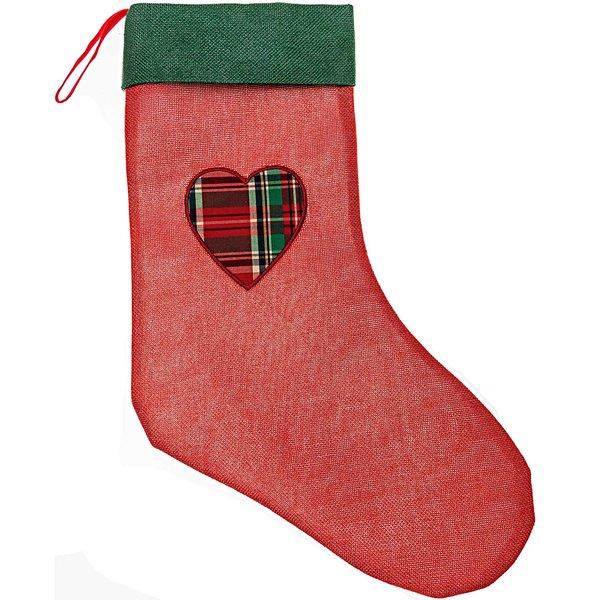 Weihnachtssocke mit Herz rot-grün 44x30cm