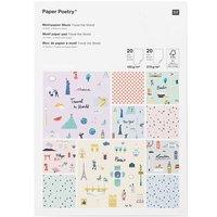 Paper Poetry Motivpapierblock Travel the World DIN A4 40 Blatt