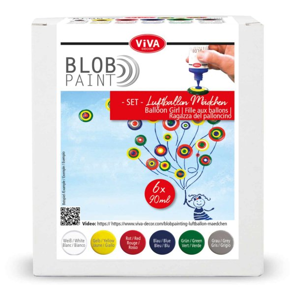 Viva Decor Blob Paint Set Luftballon-Mädchen 6x90ml