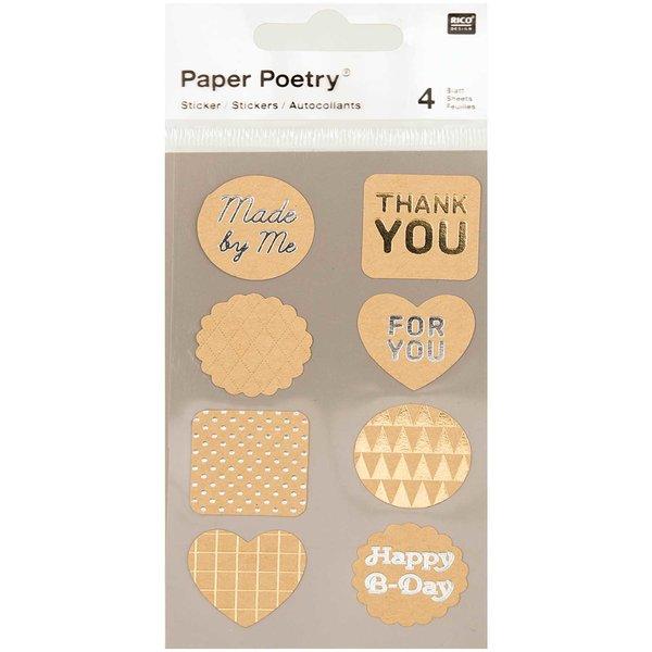 Paper Poetry Kraftpapier Sticker Labels metallic 4 Bogen