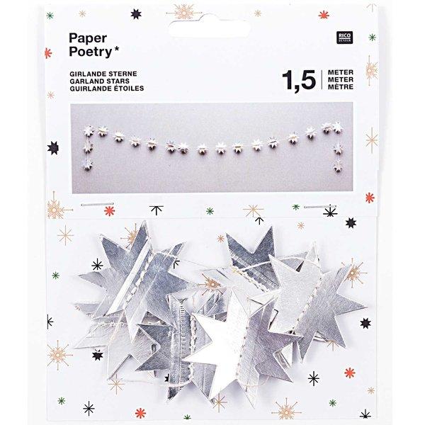 Paper Poetry Girlande Sterne silber 1,5m