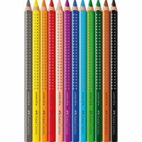 Faber Castell Jumbo Grip Farbstift 12er-Kartonetui und Spitzer