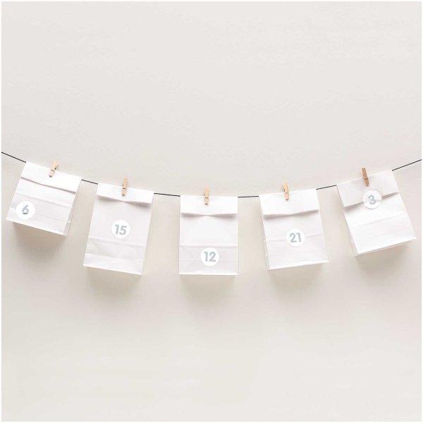 Paper Poetry Adventskalenderset weiß 24 Tüten inkl. Zubehör