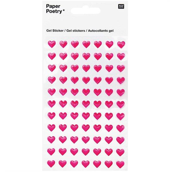Paper Poetry Gelsticker Herzen klein neonpink
