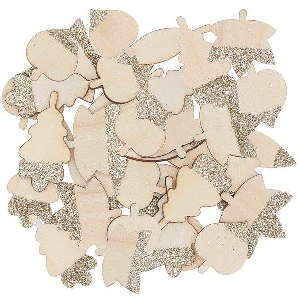 Ohhh! Lovely! Holzstreu Blätter Mix mit Glitter natur-gold 48 Stück