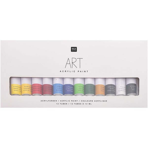 Rico Design ART Künstler Acrylfarben-Set Basic 12x12ml