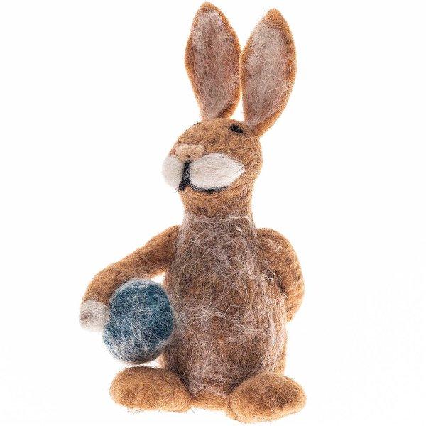 Filz-Osterhase braun-blau-weiß 14cm