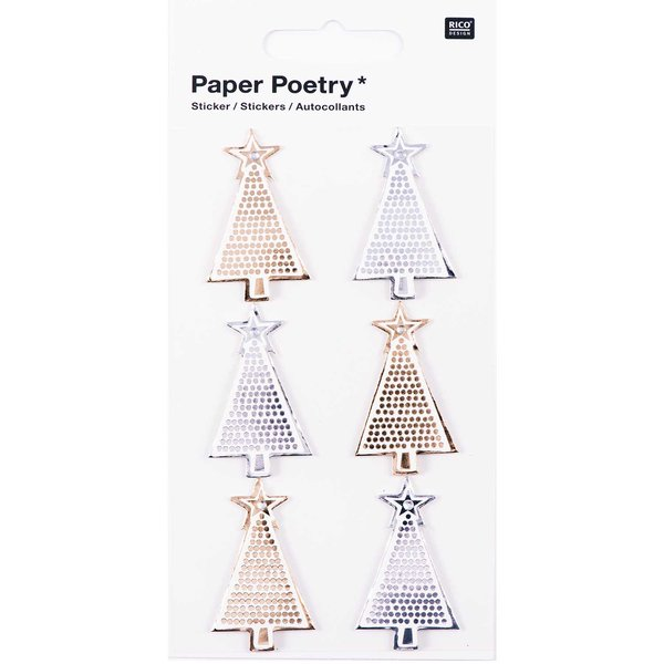 Paper Poetry 3D Sticker Tannen gold-silber Hot Foil