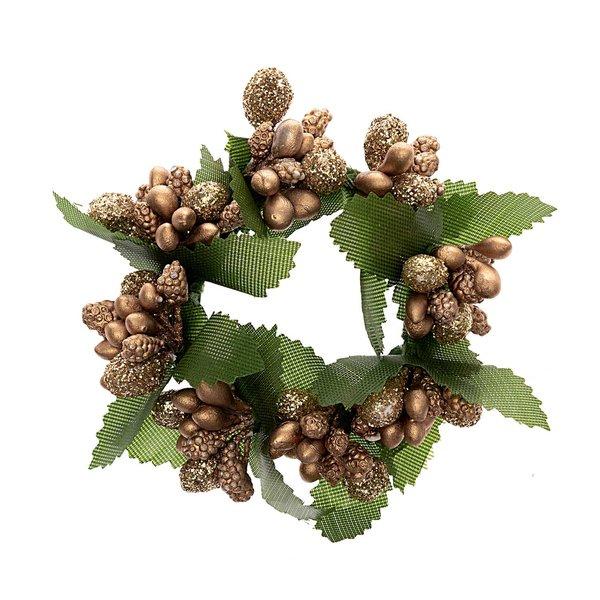 Kranz mit Blättern gold 6cm