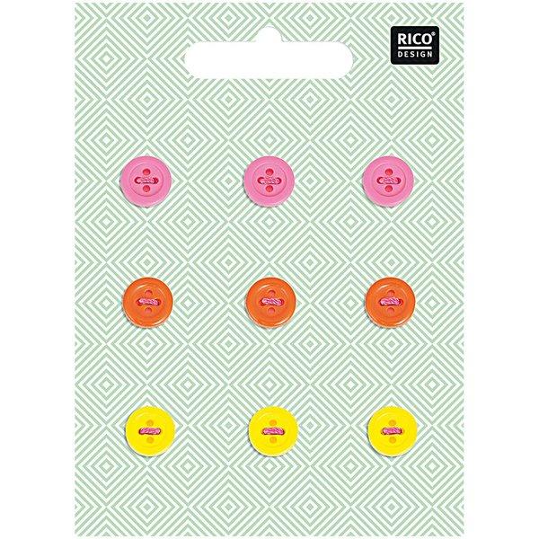 Rico Design Knopfmix neon 1cm 9 Stück