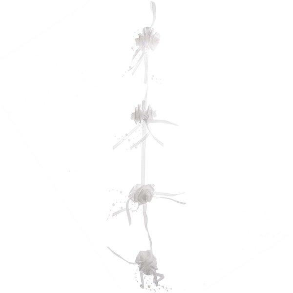 Girlande Rosen mit Schleifen und Perlen weiß 80cm
