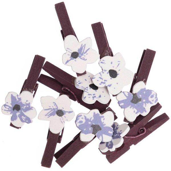 Ohhh! Lovely! Dekoklammern Blüte mauve-blau 8 Stück