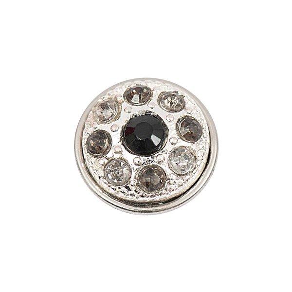 Rico Design Knopf Strass schwarz-grau-weiß 14mm