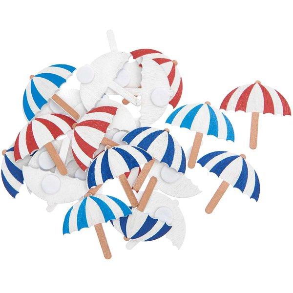 Ohhh! Lovely! Holzsticker Sonnenschirm Mix rot-weiß/blau-weiß 2x2cm 24 Stück