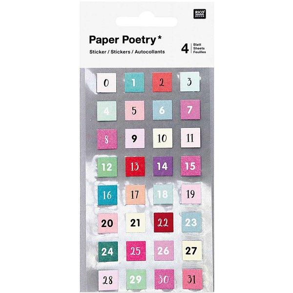 Paper Poetry Sticker Zahlen 0-31 128 Stück