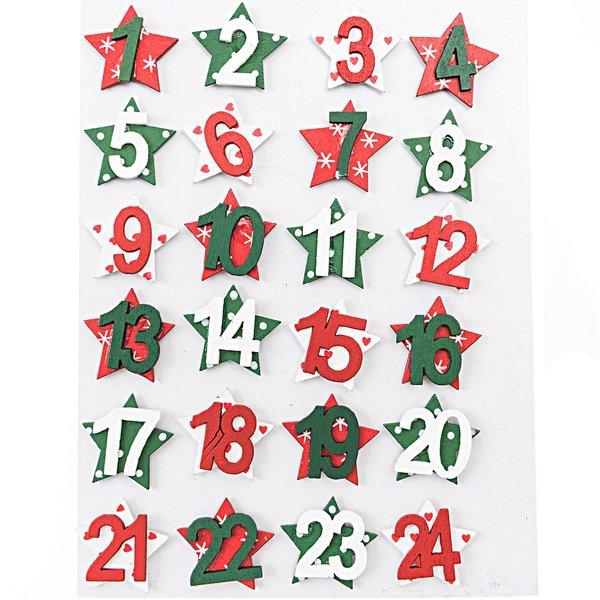 Adventskalenderzahlen Holz rot/weiß/grün 24 Stück