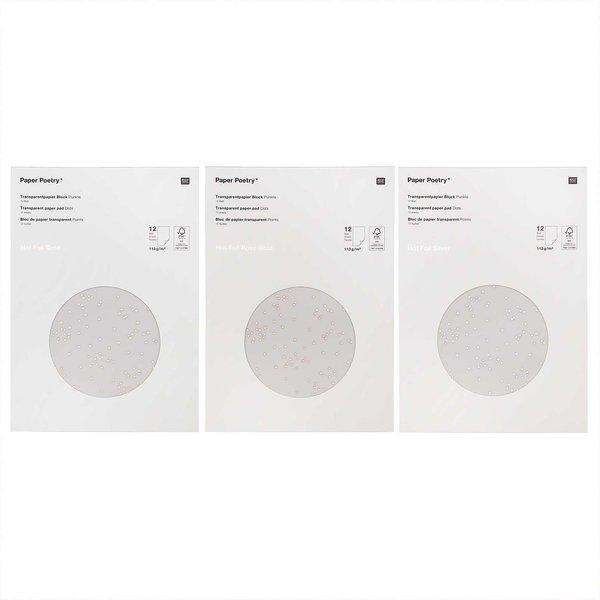 Paper Poetry Transparentpapierblock Punkte 21x29,5cm 12 Blatt