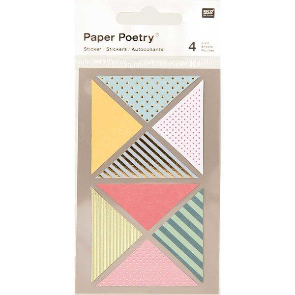 Paper Poetry Sticker Dreiecke metallic 4 Bogen