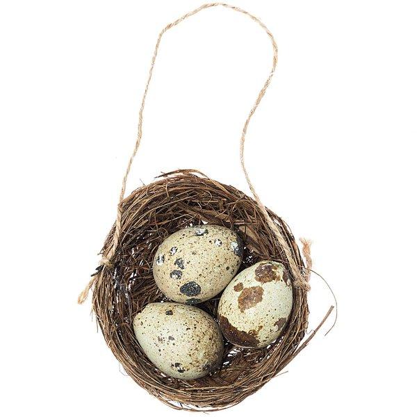 Vogelnest mit 3 Eiern Ø=6cm