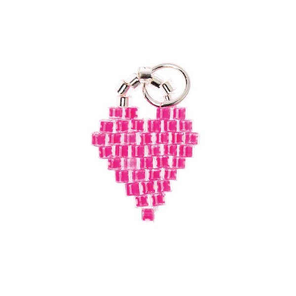 Mix it Up - Jewellery Brick Stitch Herz neon pink 11x16mm