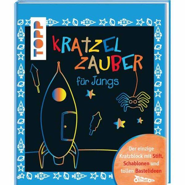 TOPP Kratzelzauber für Jungs - mit Stift, Schablonen und Bastelideen