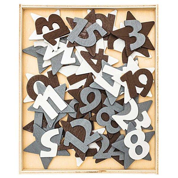 Adventskalender Zahlen 1-24 aus Holz braun-weiß-grau